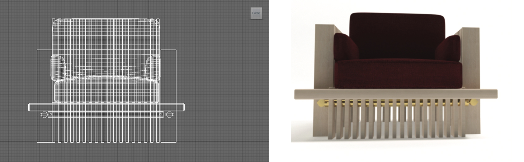 This image shows the design of a chair using Autodesk's 3DS Max.
