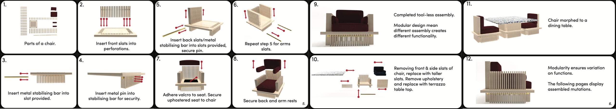 These images shows the tool-less assembly of the range and also the modular functionality.